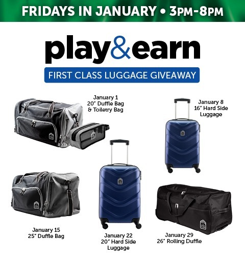 PLAY & EARN FIRST CLASS LUGGAGE GIVEAWAY