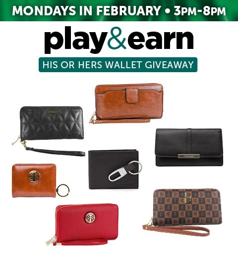 PLAY & EARN HIS OR HERS WALLET GIVEAWAY